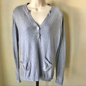Tommy Hilfiger Gray V-Neck Sweater Size L
